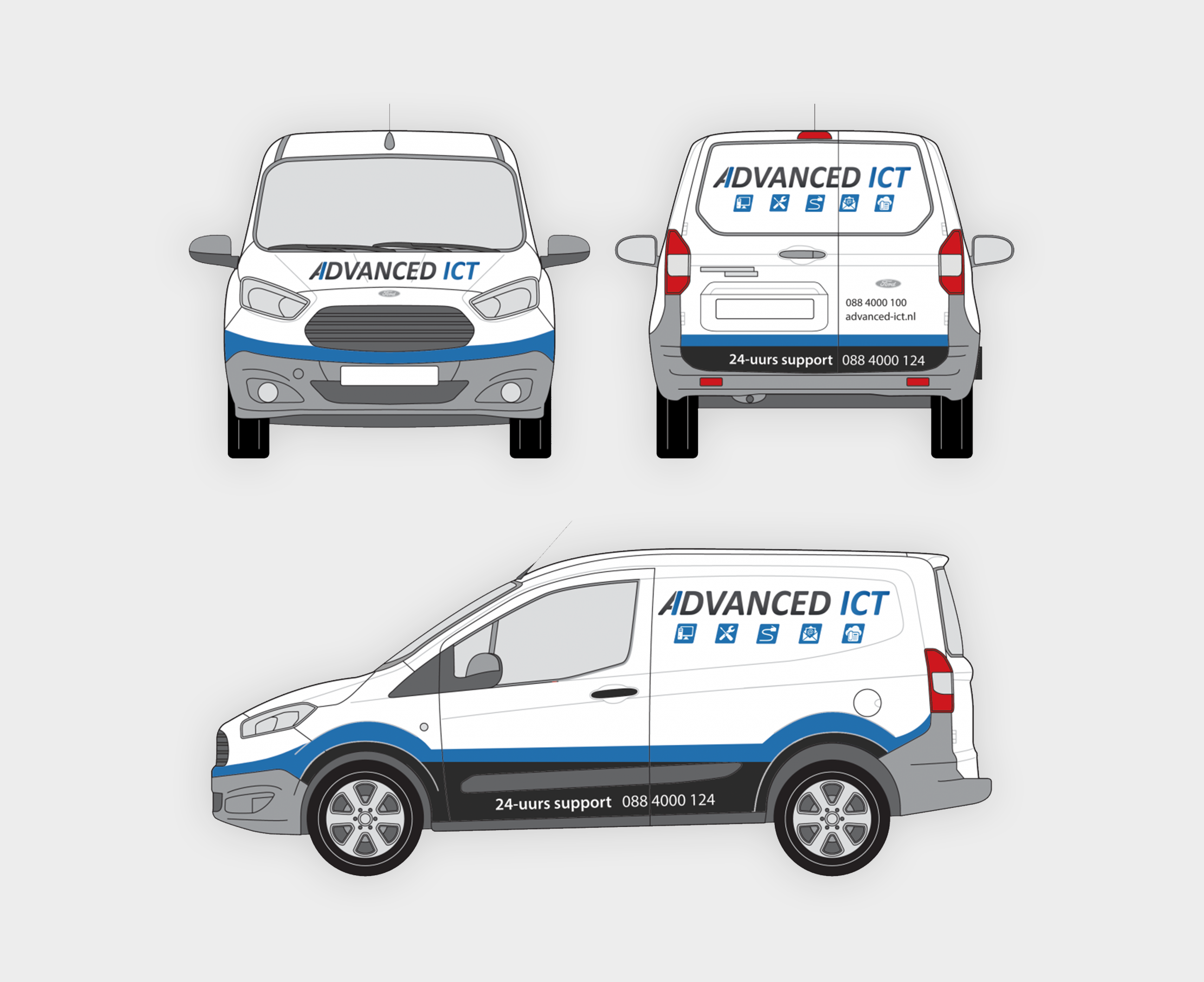 Caddy belettering Advanced-ICT